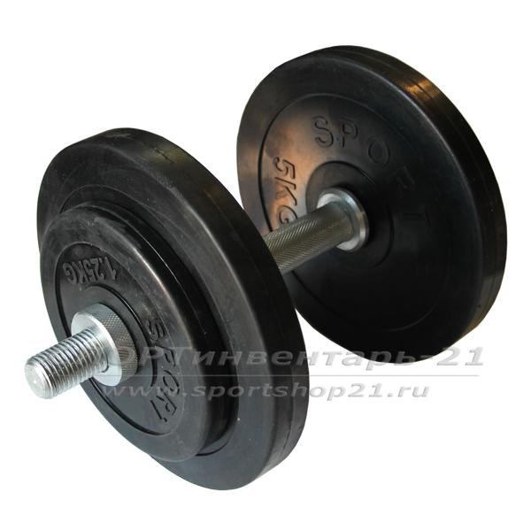Гантель обрезиненная разборная 14,5 кг (ЭКОНОМ)