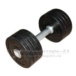Гантель профессиональная обрезиненная 11,5 кг НЕразборная