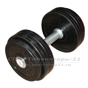 Гантель профессиональная обрезиненная 14 кг НЕразборная