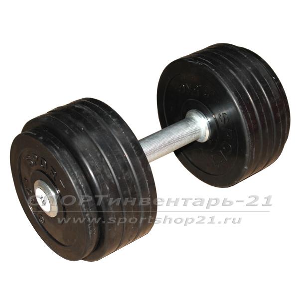 Гантель профессиональная обрезиненная 19 кг НЕразборная