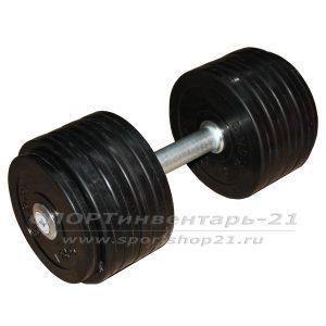 Гантель профессиональная обрезиненная 24 кг НЕразборная