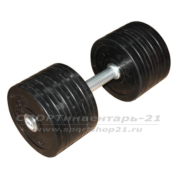 Гантель профессиональная обрезиненная 26,5 кг НЕразборная