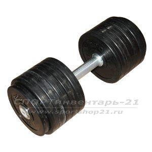 Гантель профессиональная обрезиненная 29 кг НЕразборная