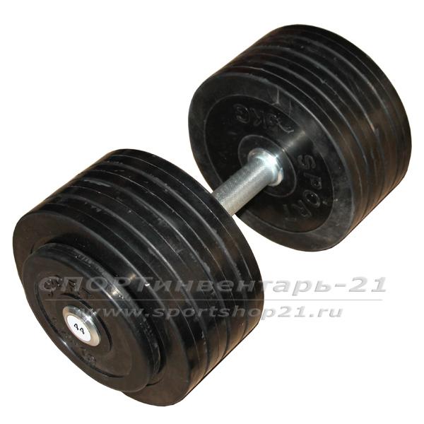 Гантель профессиональная обрезиненная 44 кг НЕразборная - gantel professionalnaya obrezinennaya 44 kg nerazbornaya