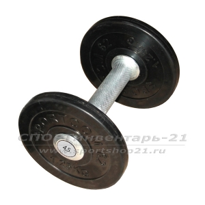 Гантель профессиональная обрезиненная 4,5 кг НЕразборная