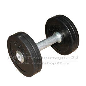 Гантель профессиональная обрезиненная 6,5 кг НЕразборная