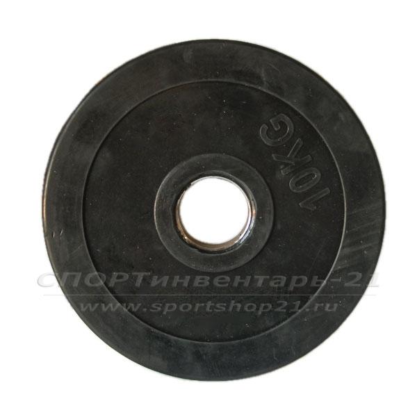 Диск обрезиненный черный 10 кг Ф51мм