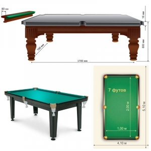 Бильярдный стол Кадет 7FT (1,90 х 0,95 м)