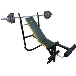 Комплект силовая скамья со стойками DFC D003 + штанга 30 кг