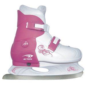 Коньки раздвижные ледовые (розовый/белый) PW-219-1
