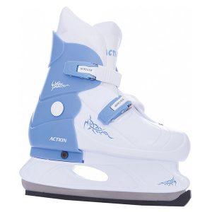 Коньки раздвижные ледовые (голубой/белый) PW-219-2