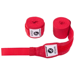 Бинт боксерский 3,5 метра (хлопок) Rusco красный