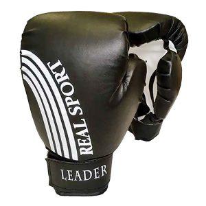 Боксерские перчатки Leader черные