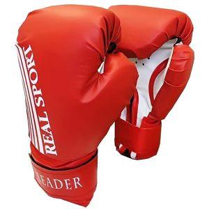 Боксерские перчатки Leader красные фото