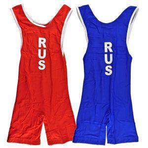 Трико борцовское ASICS (Russia) комплект красное и синее фото