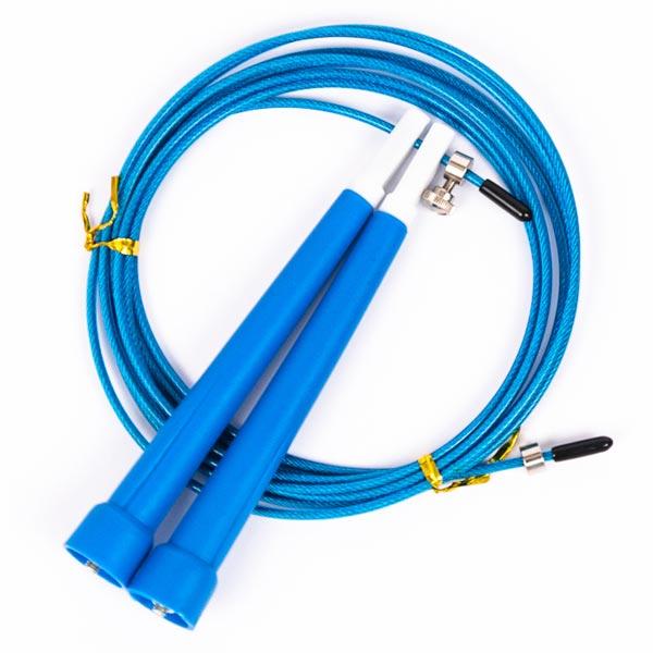 Скакалка скоростная с пластиковыми ручками синяя
