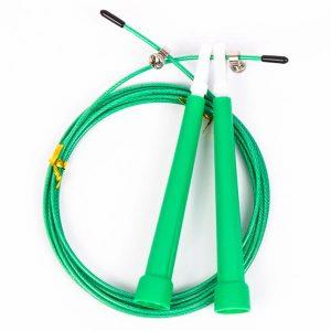 Скакалка скоростная с пластиковыми ручками зеленая