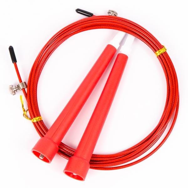 Скакалка скоростная с пластиковыми ручками красная