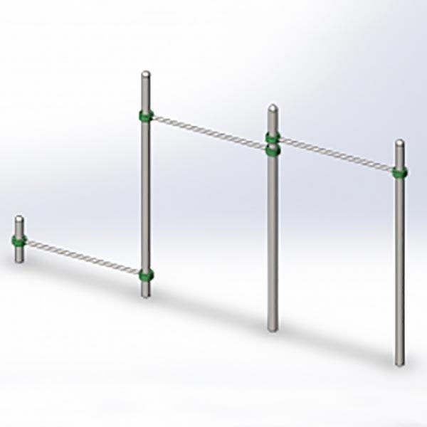 Модуль из 3-х перекладин разно-уровневый (2 высокие 1 низкая) BLG-614