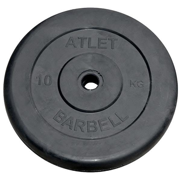 Диск обрезиненный Atlet d-26мм, 10 кг