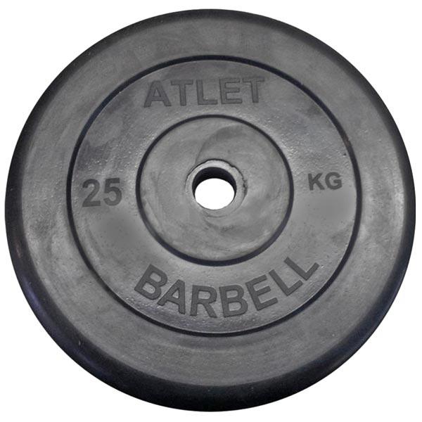 Диск обрезиненный Atlet d-26мм, 25 кг